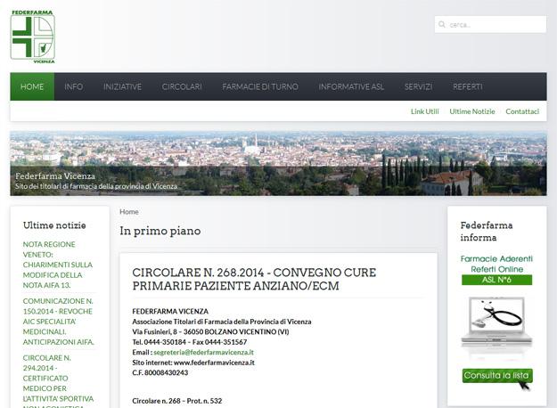 Federfarma: siti web farmacie Vicenza
