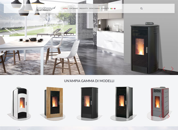 Sito web ExtraStove: stufe a pellet 100% Made in Italy