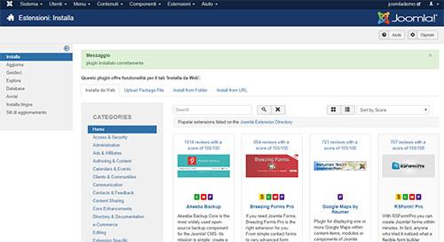 Joomla funzionalità installa da web