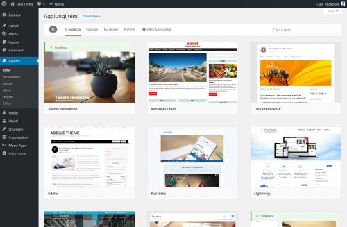 Selezionare tema di WordPress